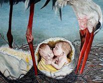 Geburt, Zwillingsbabies im ei, Störche im nest, Zwillinge