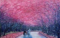 Post impressionismus, Quijote, Unterwegs, Baumallee in rosa