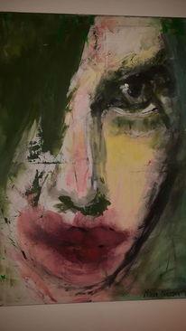 Abstrakt, Frau, Gefangen, Malerei