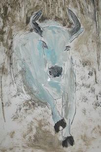 Stier, Schlamm, Huf, Malerei