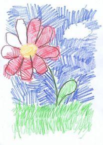 Rote schöne blume, Malerei, Pflanzen