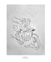 Fantasie, Malerei, Fahrt, Motorrad