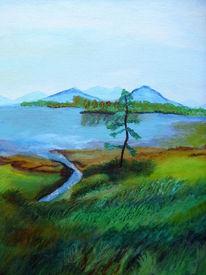 Landschaft bunt, Malerei