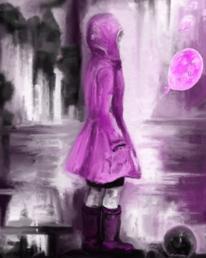Luftballon, Kind, Regen, Rosa