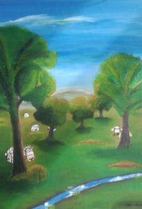 Schaf, Landschaft, Malerei