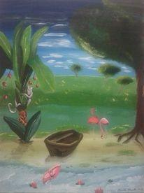 Landschaft, Flamingo, Strand, Affe