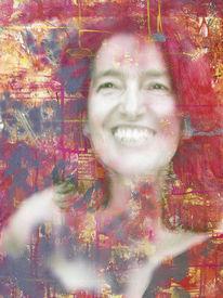 Portrait, Rot, Acrylmalerei, Frau