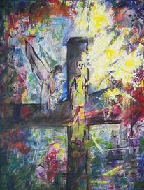 Kreuz, Bunt, Hell udn dunkel, Malerei