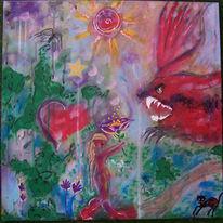 Acrylmalerei, Rot, Mädchen, Märchen