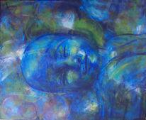 Bett, Blau, Acrylmalerei, Lächeln