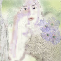 Frau, Trocken, Erde, Blüte