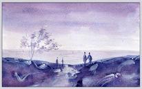 Aquarellmalerei, Farben, Menschen, Landschaft
