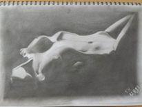 Frau, Brust, Bleistiftzeichnung, Zeichnung