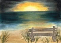 Bank, Pastellmalerei, Zeichnung, See