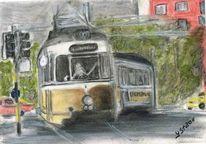 Pastellmalerei, Fahrzeug, Zug, Zeichnung
