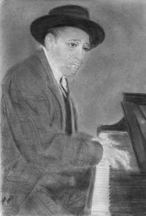 Mann, Klavier, Graphit zeichnung, Duke