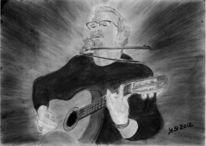 Musik, Menschen, Gitarrist, Graphit zeichnung