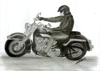 Motorrad, Harley, Zeichnungen