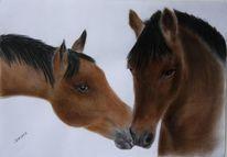 Szene, Pastellmalerei, Tiere, Pferde