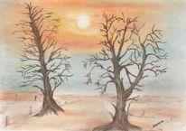 Sonnenuntergang, Winterlandschaft, Zeichnung, Baum