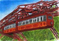 Bahn, Zeichnung, Schwebebahn, Stadt