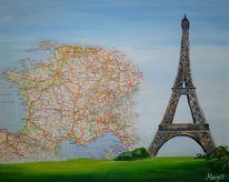 Collage, Eiffelturm, Malerei
