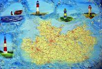 Leuchtturm, Acrylmalerei, Collage, Ostsee