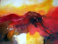 Acrylmalerei, Rot, Fantasie, Abstrakt