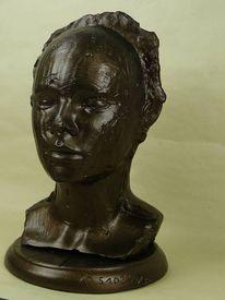 Figur, Bronzeoptik, Kopffigur, Bronzeeffekt