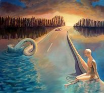 Wasser, Sonnenuntergang, Akt, Menschen