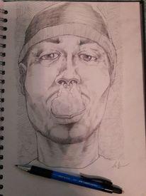 Bleistiftzeichnung, Portrait, Rauchen, Zeichnungen