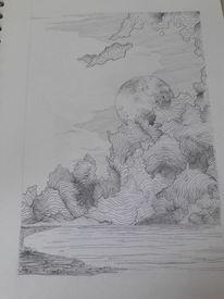 Wolken, Nacht, Vollmond, Zeichnungen