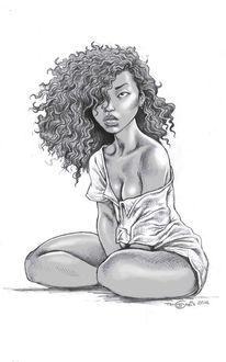 Hemd, Haare, Frau, Zeichnungen
