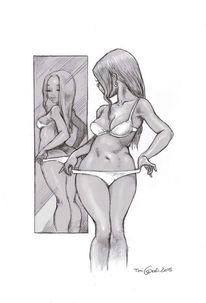 Frau, Spiegel, Zeichnung, Zeichnungen