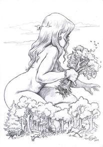 Riesin, Wald, Zeichnung, Zeichnungen