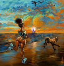 Strand, Hund, Meer, Himmel