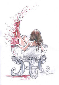 Frau, Blut, Skizze, Bad