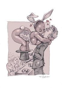 Kuss, Zauberer, Zauber, Zeichnungen