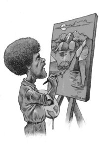 Malen, Bob ross, Karikatur, Zeichnungen
