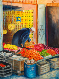 Obst gemüse, Markt, Menschen, Acrylmalerei