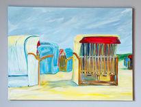 Acrylmalerei, Strand, Landschaft, Gegenständlich