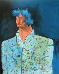 Malerei, Menschen, Blau, Mann