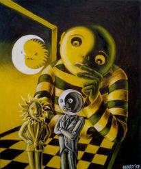 Nacht, Ölmalerei, Yin und yang, Schach