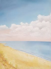 Pastellmalerei, Strand, Wasser, Meer