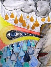 Vogel, Wolken, Menschen, Kunstdruck limitiert