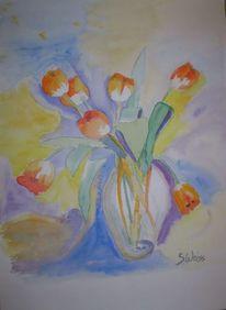 Blumenstrauß, Vase, Blätter, Tulpen