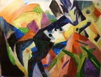 Franz marc, Tiere, Abstrakt, Landschaft