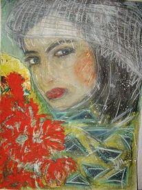 Acrylmalerei, Schleier, Frau, Malerei