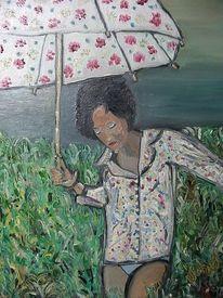 Feld, Mädchen, Schirm, Wiese