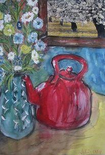 Rote kanne, Blumen, Fenster, Malerei